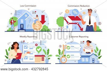 Real Estate Industry Set. Low Comission For Real Estate Agent Work