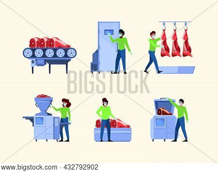 Meat Production. Industrial Equipment For Sausage Manufacturing Processing Agriculture Processes Gar