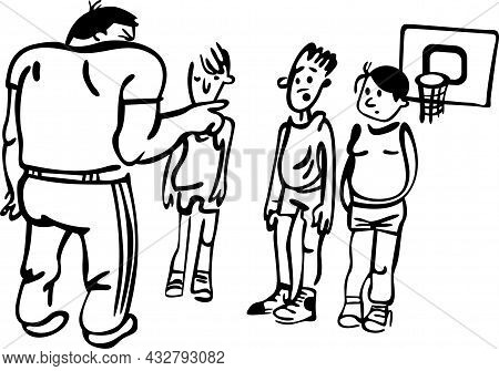 The Boys Play Basketball In The School's Gymnasium. The Teacher Tells Them How To Play