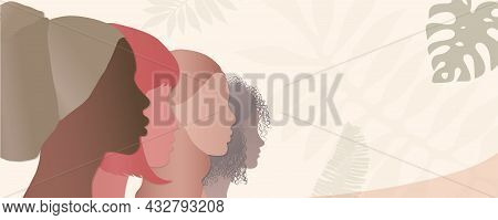 Silhouette Group Of Diverse And Multicultural Women. Concept Of Racial Equality. Communication Betwe