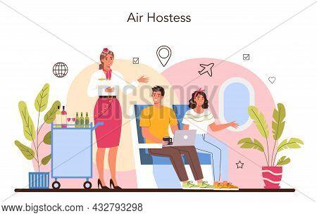 Stewardess Concept. Flight Attendants Help Passenger In Airplane.