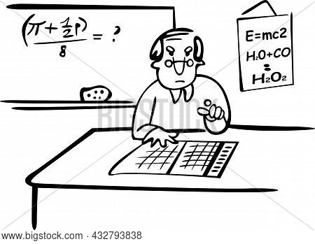 The Professor Is Sitting Behind The Desk In The Classroom. He Lectures On Chemistry And Physics. On