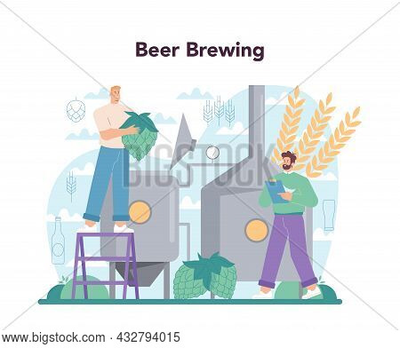 Brewery Concept. Craft Beer Production, Brewing Process. Draught Beer