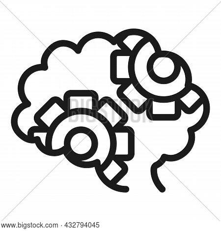 Gear Brain Icon Outline Vector. Head Mind. Health Process