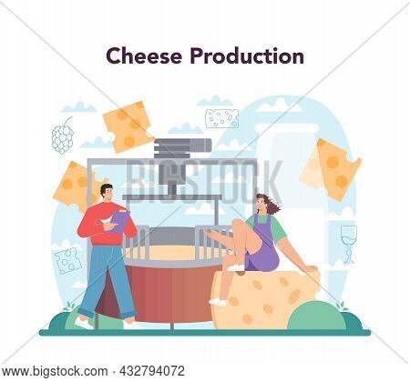 Cheese Maker Concept. Professional Chef Making Block Of Cheese
