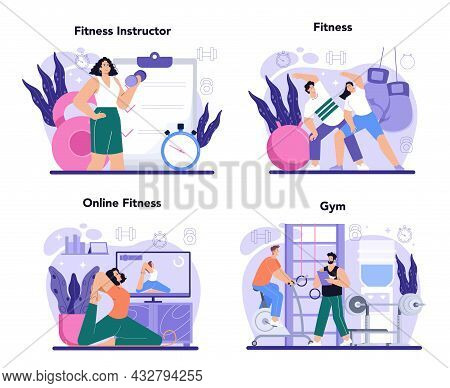 Fitness Trainer Concept Set. Workout In The Gym With Professional
