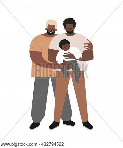 Vector Isolated Flat Illustration. African American Foster Fathers Smile. Dad Holds In His Arms Adop