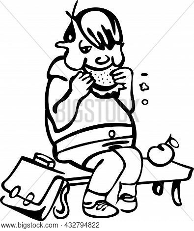 A Student Is Sitting On A Bench In The School Corridor. A Satchel Is Lying Next To It, And He Eats A