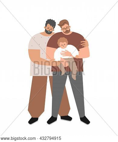 Vector Flat Concept About Family Relations By European Foster Fathers. Homosexual Dad Holds In His A