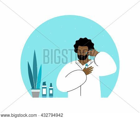 Vector Flat Isolated Concept. Smiling African American Man In Bathroom, He Is Wearing In White Bathr