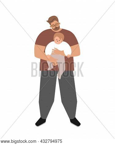 Vector Isolated Flat Illustration. Caucasian Single Daddy Smiles, Holds In His Arms Little Sweet Ado