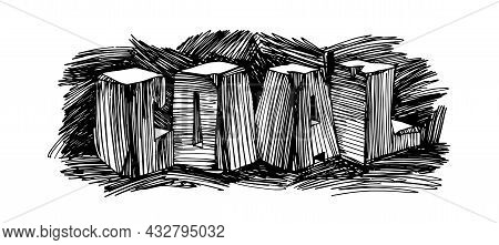 Coal, Letters Made Of Hard Stone Blocks, Mining Industry And Mineral Resources Concept, Vector Illus