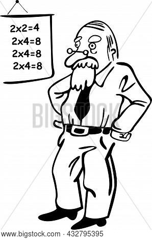 In The Classroom, The Bearded Professor Conducts Math Lessons. He Has Glasses And Is Standing Next T