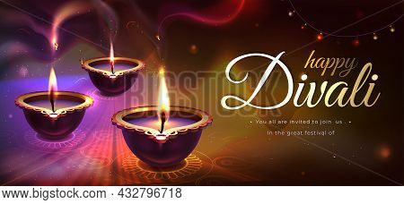 Diwali Holiday Poster With Realistic Glowing Diya Candles. Traditional Hindu Festival With Floral Ma