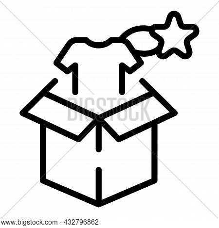 Box Clothes Icon Outline Vector. Buy Tshirt. Sale Rate