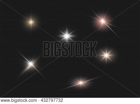 Glare. Flashes Of Light Rays. Glow, Glitter Effect. Collection Of Various Glowing Sparks. Vector Ill