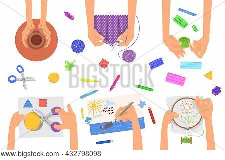 Creative Kids Lab. Art Lesson, Children Fun Craft Activities. Top View On Hands, People Paint, Embro
