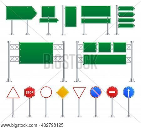 Blank Street Traffic Sign. Road Signs, Isolated Street Highway Boards. Green, Yellow And Red Stop El