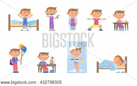 Boy Daily Activities. Cartoon Kids Routine, Active Morning Kid. Child Studying, Eating And Wake Up.