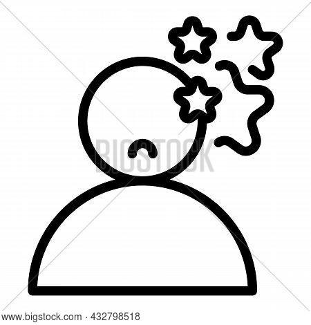 Dizziness Stars Icon Outline Vector. Dizzy Head. Man Headache