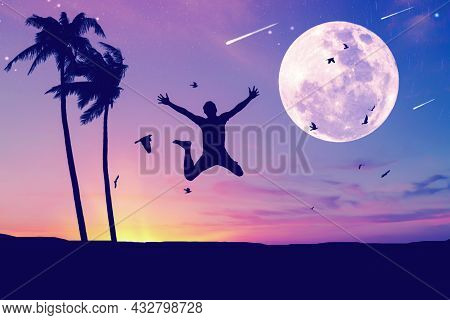Man Jumping And Birds Flying With Palm Tree At Tropical Sunset Beach Full Moon Abstract Background.