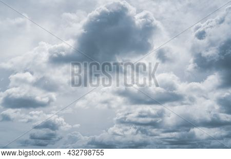 Dark Dramatic Sky And Grey Clouds. Background For Halloween Day, Death, And Depression Concept. Stor
