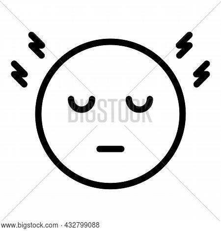 Head Migraine Icon Outline Vector. Headache Stress. Pain Disorder