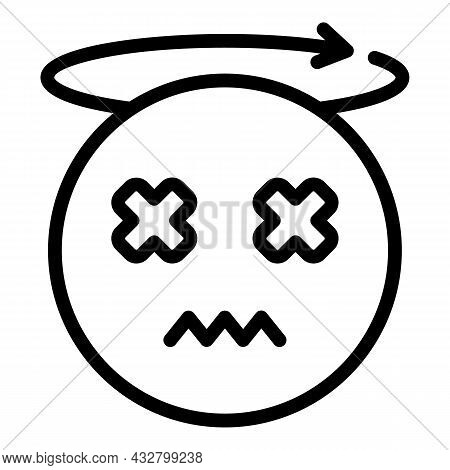 Dizziness Trouble Icon Outline Vector. Headache Stress. Dizzy Head