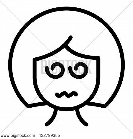 Exhausted Woman Icon Outline Vector. Mental Fatigue. Anxiety Stress