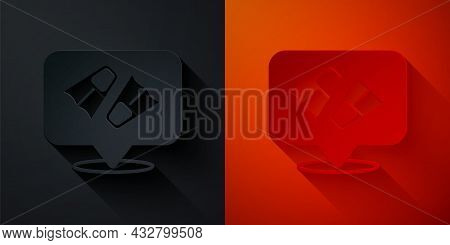 Paper Cut Rubber Flippers For Swimming Icon Isolated On Black And Red Background. Diving Equipment.