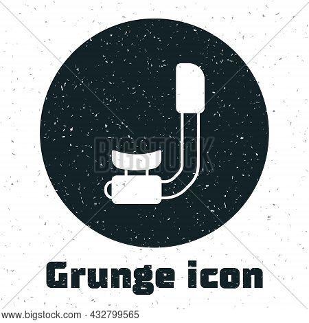 Grunge Snorkel Icon Isolated On White Background. Diving Underwater Equipment. Monochrome Vintage Dr