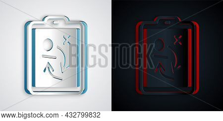 Paper Cut Planning Strategy Concept Icon Isolated On Grey And Black Background. Hockey Cup Formation