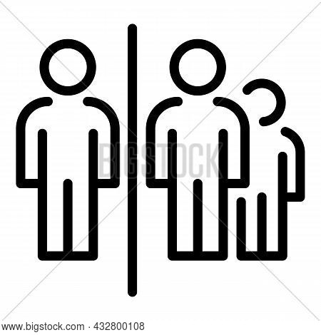 Crowd Distance Icon Outline Vector. Social Space. Avoid Group