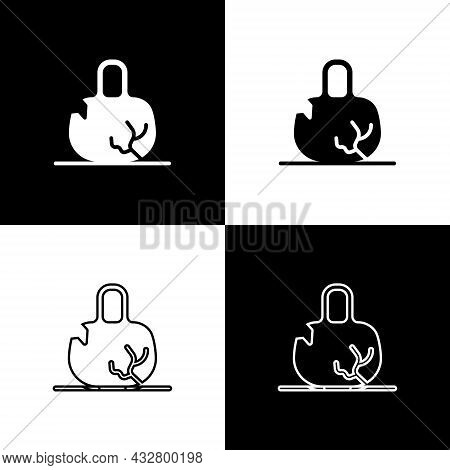 Set Broken Weight Icon Isolated On Black And White Background. Kilogram Weight Block For Weight Lift