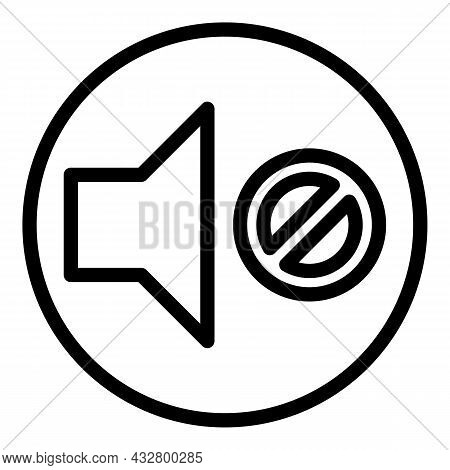 No Sound Icon Outline Vector. Mute Audio. Silence Volume