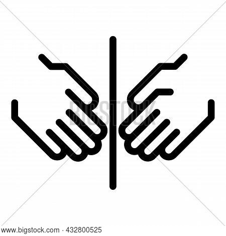 No Hand Touching Icon Outline Vector. Touch Forbidden. Keep Distance