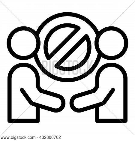 Contact Forbidden Icon Outline Vector. Ban Handshake. Avoid Corona