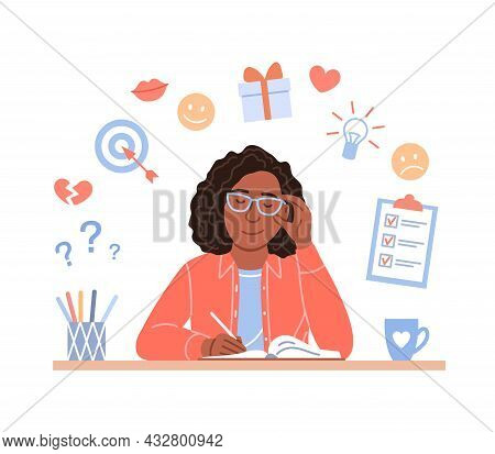 Attractive Black Woman Writes Diary Concept. Young Flat Sitting Afro Girl Portrait Plans In Organize