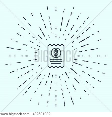 Black Line Paper Check And Financial Check Icon Isolated On Grey Background. Paper Print Check, Shop