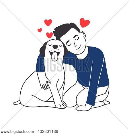 Boy Hugs Dog. Kid And Puppy Friendship, Happy Pup Owner Love Cub Animal Vector Illustration, Guy Pla
