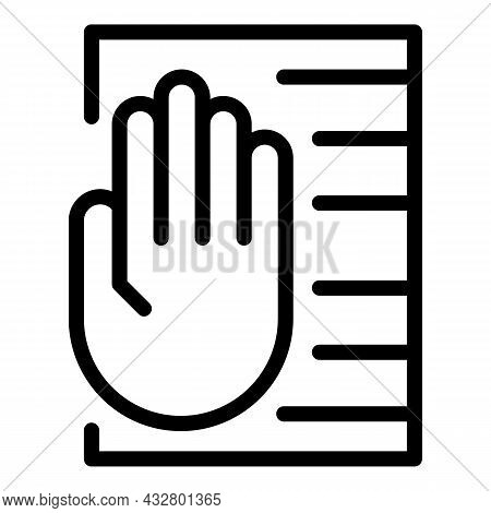 Palm Scanning System Icon Outline Vector. Hand Scan. Biometric Recognition