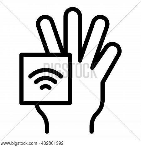 Internet Palm Recognition Icon Outline Vector. Biometric Scan. Hand Identification