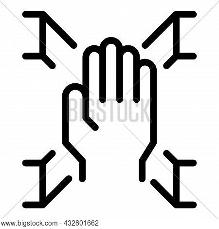 Digital Palm Scanning Icon Outline Vector. Biometric Scan. Hand Fingerprint