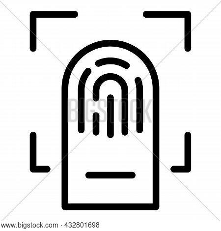 Fingerprint Identification Icon Outline Vector. Biometric Scan. Finger Verification