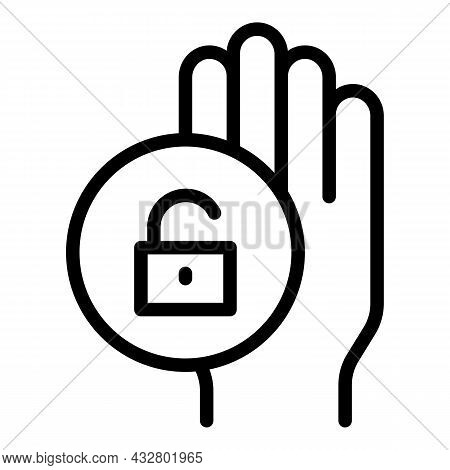 Verification Palmprint Icon Outline Vector. Palm Recognition. Scan Identity