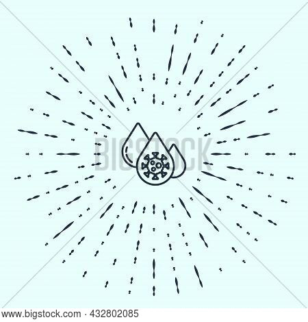 Black Line Blood Test And Virus Molecule Coronavirus Icon Isolated On Grey Background. Coronavirus,