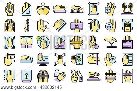 Palm Scanning Icons Set Outline Vector. Biometric Signature. Social Palm Scanning