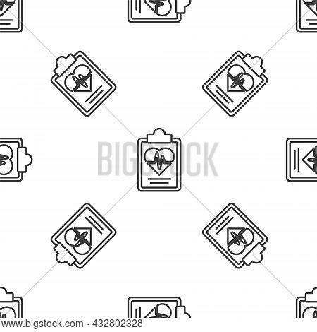 Grey Line Health Insurance Icon Isolated Seamless Pattern On White Background. Patient Protection. S
