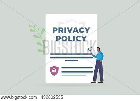 Privacy Policy Contract With Protection Of Confidential Information Concept Illustration. Cyber Secu