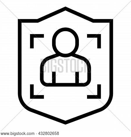 Shield Biometric Identification Icon Outline Vector. Digital Scan. Privacy Recognition
